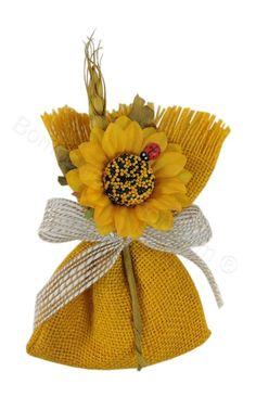Sacchettino portaconfetti in juta giallo con girasole