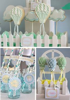 hot air balloon cookies as party favors Wedding Balloons, Birthday Balloons, Hot Air Balloon Cake, Balloon Party, Air Ballon, Baby Shower Balloons, Boy Birthday Parties, Birthday Treats, Baby Party