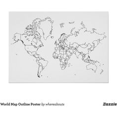 World Map Outline Poster ($17) ❤ liked on Polyvore featuring home, home decor, wall art, framing posters, map poster, framed wall art, paper wall art and framed posters