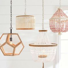 Add the finishing touches to your nursery with Pottery Barn Kids' baby room decor. Find nursery lighting that is functional and stylish. Kids Chandelier, Wood Bead Chandelier, Crystal Pendant Lighting, Chandelier Bedroom, Cheap Pendant Lights, Diy Pendant Light, Pottery Barn Chandelier, Pottery Barn Lighting, Coastal Chandelier
