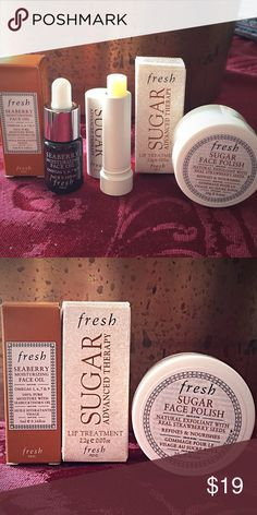 $30 Value Set of FRESH Minis New, never used, opened only for photos.  Fresh Skin Care products, mini versions of three items as follows:  1.  Sugar Advanced Therapy Lip Treatment .07 oz.  (Full size is .15 oz and costs $26)   2. Seaberry Moisturizing Face Oil, 5 ml. (Full size is 15ml and $18.50)  3. Sugar Face Polish, 20g. (Full size is 125g and $62).  🚫NO TRADES🚫   💄🌸Free Beauty Sample With Every Purchase🌸💄 Sephora Makeup Lip Balm & Gloss