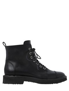 GIUSEPPE ZANOTTI DESIGN - 20MM LEATHER ANKLE COMBAT BOOTS - BLACK