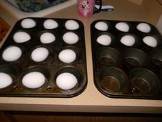 FAIL - did not work...yucky! Baked Eggs for Hard Boiled Eggs - 325 degrees for 25 to 30 minutes....Easy to peel....
