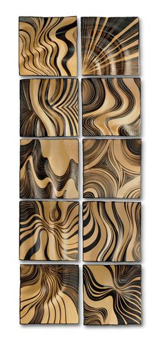 Honey Ripple Tiles by Natalie Blake. Handsculpted, *sgraffito*-carved, ceramic wall art tile. Honey glazed. Custom backings for easy hanging. Can be made for grouting in as a backsplash. Dimensions refer to each individual tile.