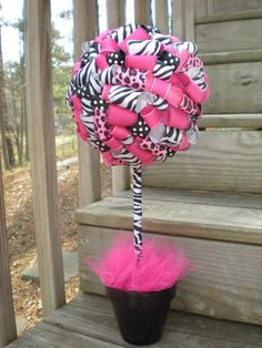 Ribbon Topiary in Zebra, Leopard, Hot Pink, Black- Centerpiece/Decoration for Baby Shower... I kinda want one of these for myself.. like for my bedroom haha