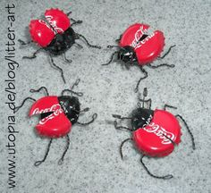 crown cap lady bugs - by litters art