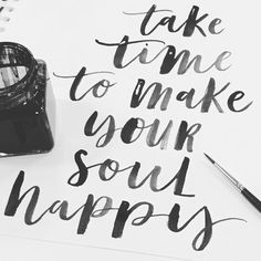 Some more inky #Calligraphy #brushlettering #positivequote #positivity #lettering #handdrawntype #ink #positivevibes #happy #nikkiwhistoninks