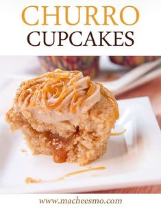 Homemade Churro Cupcakes filled with caramel and topped with a cream cheese cinnamon frosting.