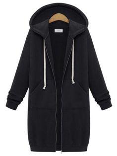 Winter Coats 2016 Hot Sale Women Long Hooded Sweatshirts Coat Casual Pockets Zipper Outerwear Hoodies Jacket Plus Size Ladies Hooded Coats, Long Hooded Coat, Coats For Women, Hooded Jacket, Clothes For Women, Long Hoodie, Zip Hoodie, Sweatshirt Tunic, Parka