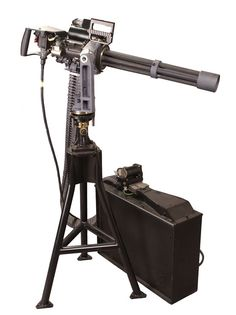 The Dillon M-134D Gatling Gun is a six barreled, electrically driven machine gun chambered in 7.62mm NATO which fires at a fixed rate of 3,000 shots per minute.