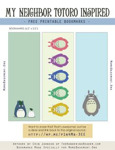 My Neighbor Totoro Inspired Free Printable Bookmarks | Mom's Basement