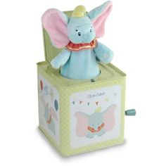 """Disney Dumbo Jack-in-the-Box Instrument: Peek a boo! here comes Dumbo! this classic toy features adorable Dumbo graphics on all sides and plays """"baby mine"""". Dumbo Nursery, Baby Dumbo, Disney Nursery, Elephant Nursery, Baby Elephant, Circus Nursery, Girl Nursery, Toddler Toys, Baby Toys"""