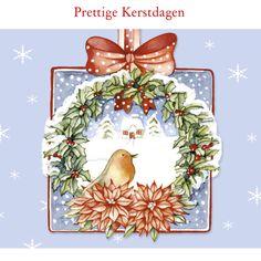Prettige Kerstdagen met vogel in krans, verkrijgbaar bij #kaartje2go voor €