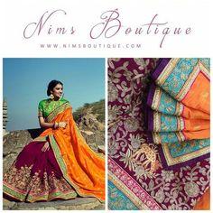 Maharani Silk Orange, Purple & Turquoise Royal Brocade Sari with Green Brocade unstitched blouse