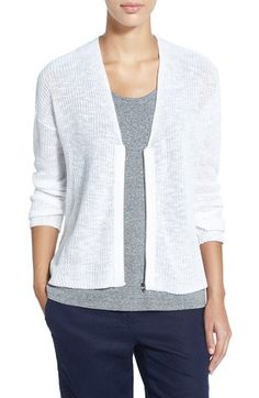 Eileen Fisher Organic Linen & Cotton Boxy Front Zip Cardigan (Regular & Petite) available at #Nordstrom