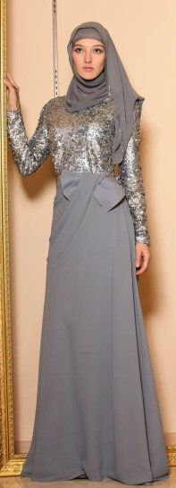#Hijab Evening Dress. This is great for the evenings you dont want to show ur hair# Hijab & muslimah fashion inspiration
