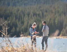 Brainard Lake Fall Proposal Engagement Session Seeing Ring on Hand