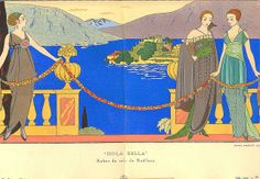 "Gazette du Bon Ton, 1914, no. 6 (juin), pl. 57: ""Isola Bella"" / Robes du soir de Redfern by Atelier Sol, via Flickr"