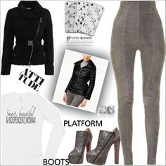 Kickin' It: Platform Boots by atelier-briella on Polyvore featuring Versace, Calvin Klein, Balmain, Christian Louboutin, Music Notes, cute, chic, PlatformBoots, iPhonecases and LongSleeveShirt
