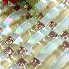 Buy Crystal Glass Mosaic Sheet Wall Stickers Kitchen Backsplash Tile ...