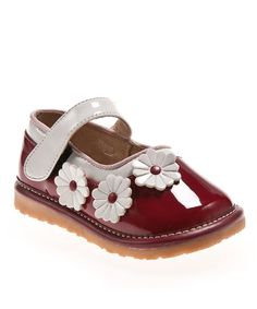 Take a look at this Red & White Triple Daisy Squeaker Mary Jane by littlebluelamb squeaky shoes on #zulily today!