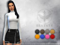 A leather mini skirt with biker details and HQ leather effect. Comes in 8 colours.  Found in TSR Category 'Sims 4 Female Everyday'
