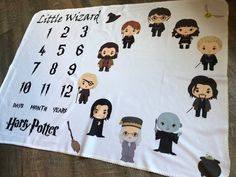 Little Wizard Milestone Blanket, Harry Potter Inspired Baby Blanket, Pick You Wizard Blanket, Matching Pillow, Bib & Burp Cloth This one of a kind HARRY POTTER personalized baby blanket is a perfect gift for the birth of a beautiful new baby! Baby Harry Potter, Harry Potter Nursery, Harry Potter Baby Shower, Harry Potter Baby Clothes, Harry Potter Clothing, Baby Showers, Baby Shower Gifts, Baby Gifts, Baby Milestone Blanket