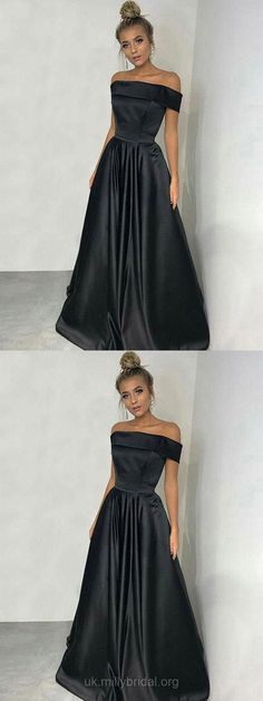 Black Prom dresses, Long Prom dresses, Ball Gown Prom dresses, Modest Prom dresses For Teens, Silk-like Satin Prom dresses Off-the-shoulder, A-line Prom dresses Draped #ballgowns #blackdress #prom