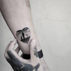 Heart shaped father and daughter landscape tattoo. Tattoo artist: Matteo Nangeroni