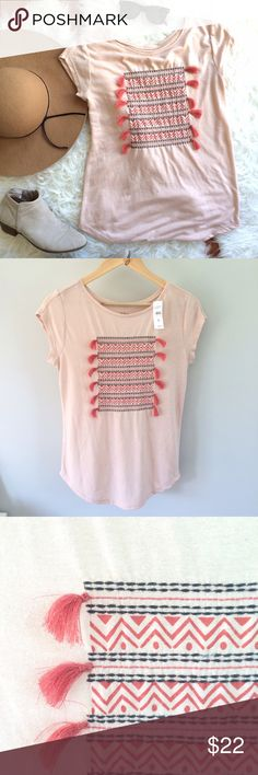 🍁SALE! NWT LOFT Tassel Tee Adorable linen blend layering tshirt for fall! Pair with a military jacket, dark skinnies, and suede booties and you're set! Beautiful blush color, tribal detailing and tassel texture make this a unique and versatile wardrobe addition. Pit to pit: 18in, shoulder to hem: 25in. Never worn, new with tags. LOFT Tops Tees - Short Sleeve