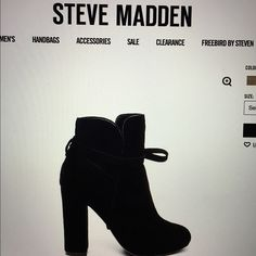 Steve Madden Loreen black suede boot Worn twice. The LOREEN high-heeled suede bootie is taken to the next level with a suede tie that wraps around the ankle.  Pair with dark jeans and an oversized sweater for a dressy-casual look.  Suede upper material Man-made lining Man-made sole 4 inch heel height 9.5 inch shaft circumference 4.25 inch shaft height Steve Madden Shoes Ankle Boots & Booties