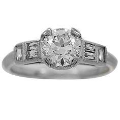 .85 European Cut Center Diamond Platinum Ring        1