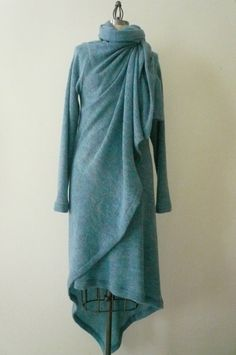 MARIA SEVERYNA Blue Soft Wool Knit Asymmetric Sweater Wrap Duster - Available in many colors on Etsy, $287.00