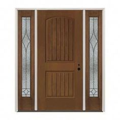 Pella Left-Hand Inswing Prestained Provincial Exterior Provincial Interior Stained Fiberglass Prehung Entry Door With Sidelights Insulating Core (Common: X Actual: x Glass Panel Door, Glass Front Door, Glass Panels, Glass Doors, Custom Wood Doors, Wooden Doors, Oak Doors, Pine Doors, Interior Barn Doors