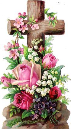 Oblaten Glanzbild scrap die cut chromo Kreuz 15,7 cm cross croix Blume rose