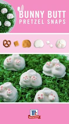 Bunny Butt PRETZEL SNAPS -- fun, sweet & salty dessert recipe combines crunchy pretzels w/ salted caramel, top w/ mini marshmallows as cute little bunny feet for the cutest twist on Easter bunny butts... here comes the Easter Bunny... »» very cute decoration inspiration! -want to try w/ sugar cookie base instead...