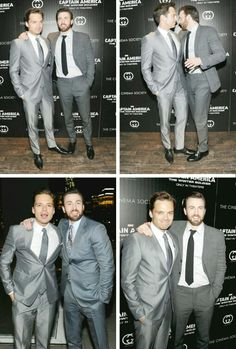 Chris Evans and Sebastian Stan<---- we all know what Chris is whispering #hailhydra
