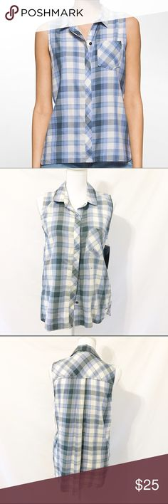 """Calvin Klein Plaid Sleeveless Shirt Jacaranda A lightweight sleeveless top featuring summer plaid fabric, a chest patch pocket and a button front design. Calvin Klein Jeans sleeveless top. Summer plaid print. Button front + covered placket. Chest patch pocket. Tonal topstitching. Seaming details. Materials 100% cotton.    Size S  Measurements Bust 34-35"""" Waist 31-32"""" Length 24"""" from shoulder to hem  New with tags. Calvin Klein Tops Button Down Shirts"""