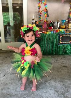 98953c23a Birthday Luau Outfit - Baby Girl 1st Birthday Outfit - Children's Luau Dress  - Luau First Birthday - Flower Crown
