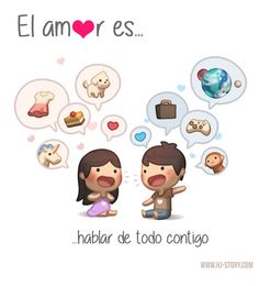 Love Is. Illustrations from HJ-Story Hj Story, Cute Love Stories, Love Story, Cute Love Cartoons, Funny Cartoons, Couple Cartoon, Chibi Couple, Baby Cartoon, Illustrations