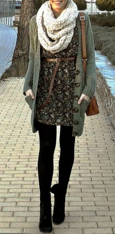 patterned dark dress with waist belted.  neutral oversized cardigan over dress, with chunky fall colored scarf.  finish with dark tights/leggings and dark boots