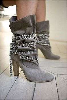 boots with chain wrapped around them (pic)