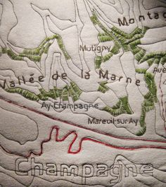 close up, Topo Quilt by Liz Burow. Topography:  Champagne, France