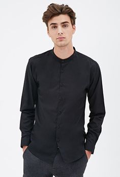 (Colour: Black, Size: Small) Mandarin Collar Shirt | 21 Men - 2052289792
