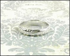 Sterling Silver Patterned Personalized Wedding Band Ring Purity Ring Any Size Made To Order