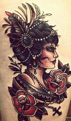 old school gypsy tattoo - back to my roots! Been looking for a LONG time for a suitable classy woman to put on my body, there she is! Great Tattoos, Trendy Tattoos, Beautiful Tattoos, New Tattoos, Body Art Tattoos, Girl Tattoos, Sleeve Tattoos, Tattoos For Women, Tatoos
