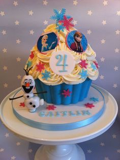 Frozen Giant Cupcake with a handmade fondant Olaf