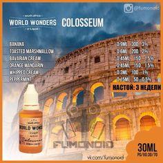 World Wonders (Colosseum) - оригинальный микс банана и мандаринов, залитых сливочным кремом и украшенных зефиром и веточкой мяты