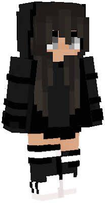 Black Hair Black Hoodie Socks Slim In 2020 Minecraft Girl Skins Minecraft Skins Cute Black Hair