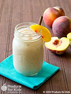 Peach Pie Smoothie: 3/4 cup skim milk. 2 peaches, chilled, sliced. 1/3 cup rolled oats 1/2 cup plain FF Greek yogurt. 1 TBS raw honey. 1/4 tsp vanilla extract. 1/4 tsp nutmeg. 1/2 cup crushed ice.